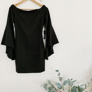 BLACK OFF-THE-SHOULDER MINI DRESS (With Tag!)